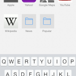 The updated Safari with quick search and favorite tiles.
