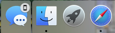 Hand-Off Icon in the Dock Area.